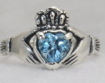 Claddagh, Sterling silver, Solid, Natural Blue Topaz