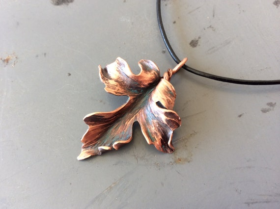 Hand forged Copper Maple Leaf Pendant made to order