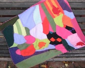 crazy quilt . cashmere crazy quilt . Cashmere Baby Crazy Quilt - elephant baby quilt . baby blanket . cashmere baby blanket