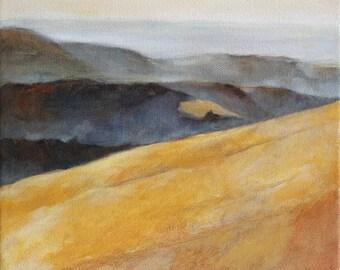 Landscape Painting of California Hills Print 6x6