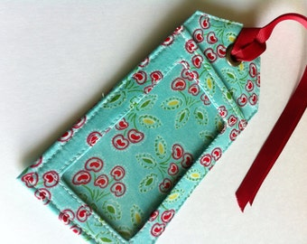 Aqua and Red Sturdy Fabric Luggage Tag Bag Tag great for Diaper or Gym bag ID