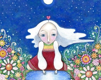 Visionary girl seer print folk art painting womens wall art white hair wise women nursery decor whimsical kids room picture spiritual art