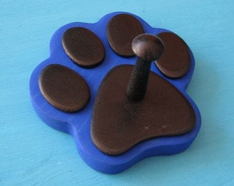 Leash Holder BLUE Dog - Wood Paw Print Peg Hook