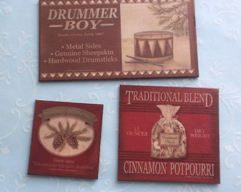 3 Christmas Themed Vintage Style Signs - Drummer Boy Drums Cinnamon Potpourri Woodland Decorating Pinecones - Dollhouse Miniature