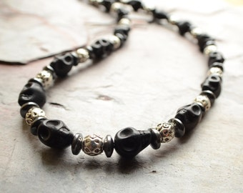 The Lucas- Black Skull and Silver Men's Necklace