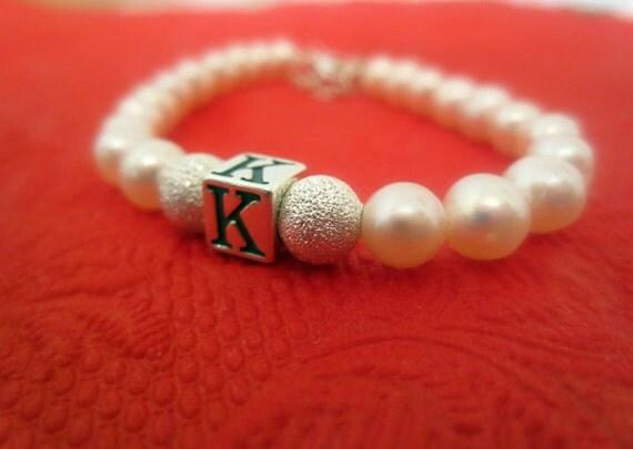 Flowergirl Freshwater Pearl Initial Bracelet - Baby Newborn bracelet - Initial Monogram Bracelet