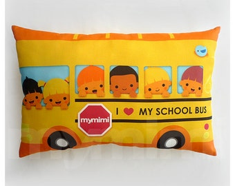 "17 x 10"" Travel Pillow, Yellow School Bus Pillow, Lumbar Pillow, Kids Car Pillow, Kids Room Decor, Kids Car Pillow, Toddler Pillow"