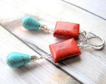 Turquoise Earrings - Blue and Red Gemstone Earrings - Sterling Silver Wire Wrapped Southwestern Style Jewelry - Long Dangle Earrings