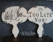 Wedding Signs, Double Sided Paddle Signs, Chalkboard, Handpainted, Mr and Mrs, Engagement Photos, Wooden Paddle Set, Chalk Board, Reversible