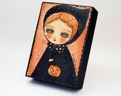 SALE!!! -- Halloween In Black - Original Mixed Media Painting by Danita (5x7 Inches)
