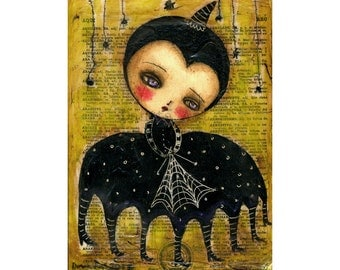 Halloween Spider Woman - Giclee Reproduction from Original Mixed Media Collage By Danita - (8x10 INCHES)