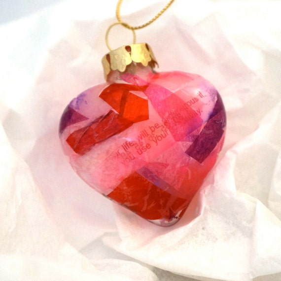 Glass Heart Ornament Decoupage Inside Recycled Tissue Paper and Fortune Cookie Wrapper
