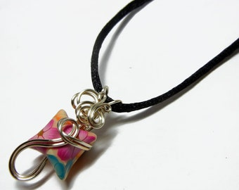 Wire Wrap Polymer Clay Fairy Pillow Pendant with Necklace - Design 2