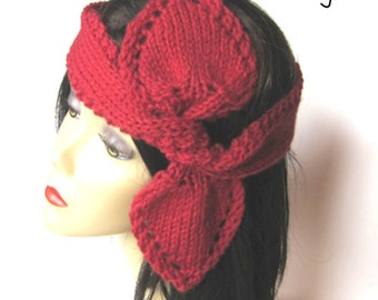 Knitting Pattern HEART Scarf and Headband PDF - Instant Download - Stash Buster