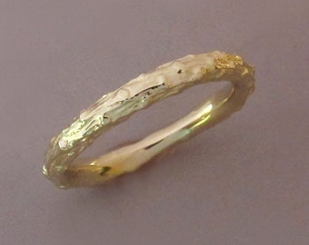 14k Yellow Gold Twig Wedding Ring - Narrow Pine Branch