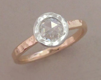 Rose Cut Moissanite Engagement Ring in 14k Rose Gold and Platinum - Hammered Bezel - Choose a Stone Size