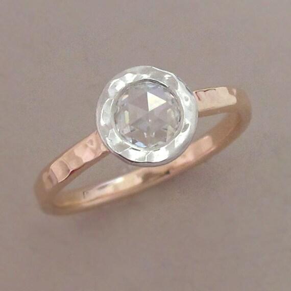 Rose Cut Moissanite Engagement Ring in 14k Rose Gold and Platinum - Hammered  Bezel - Choose