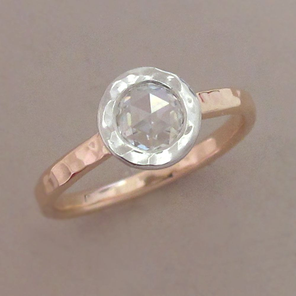 Rose Cut Moissanite Engagement Ring In 14k Rose Gold And