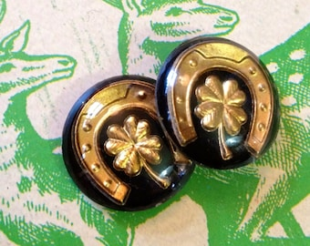 2pcs GOOD LUCK CABOCHONS 1950s Vintage Western Germany 18mm