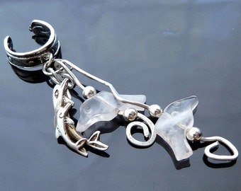 Dolphins Breaching the Ocean Waves sterling silver ear cuff with pink rose quartz