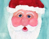 Santa Claus Painting, Portrait of Santa, Father Christmas,  Original painting in watercolors and acrylic on watercolor paper, Santa Decor