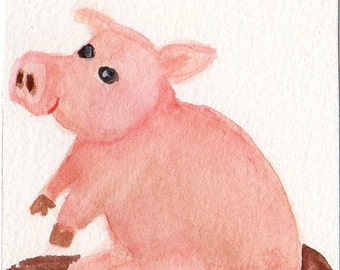 ACEO Original Pig in Mud watercolor art card, painting of pig, whimsical pig art, SharonFosterArt