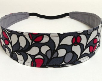 Headband Reversible Fabric  - Black, Gray, Red, White Mod Floral Print - Headbands for Women - CLAUDIA