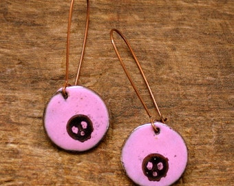 Skull Earrings - Enameled Copper - Dangle Earrings - Pink and Black