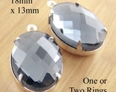Black diamond glass beads - 18x13 faceted oval rhinestones for earrings or pendants - gray bridesmaid jewels - one pair