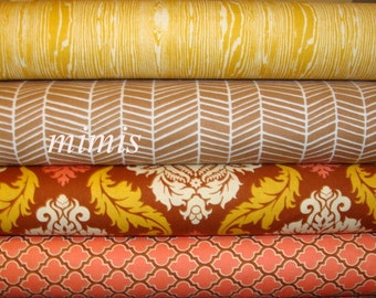 True Colors by  Joel Dewberry Fabric / MAPLE and STRAW  / 4 Half Yard Bundle / Cotton Quilt Fabric