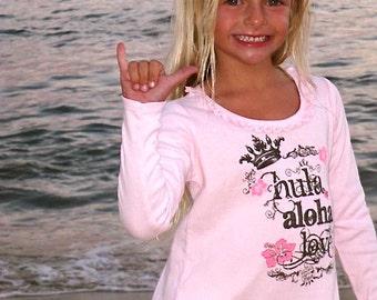 1/2 price sale The Indy Hula Aloha Love silkscreen cotton long sleeve dress made in Hawaii by Happy Honu Maui
