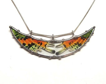 Crescent Moon Pendant with Real Sunset Moth Wings - Statement Necklace