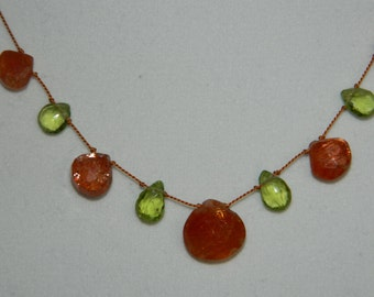 Sunstone and Peridot Briolettes Knotted on Silk Cord Gemstone Necklace