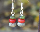 Green, Red and Natural stone beaded earrings - stone earrings
