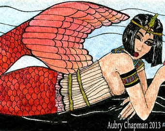 Carmine mermaid 5x7