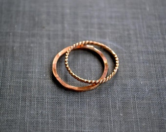 gold stacking rings- set of two