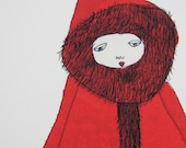 A4 Print Girl in Red Coat with Kitten