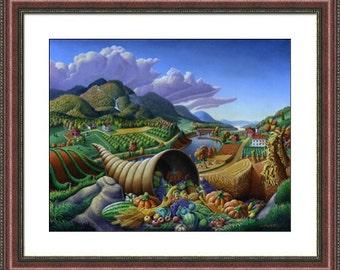 Fall Decor, Folk Art, Horn Of Plenty, Cornucopia, Autumn Rustic Farm Landscape, Thanksgiving, Framed and Matted Print. Appalachia, Americana
