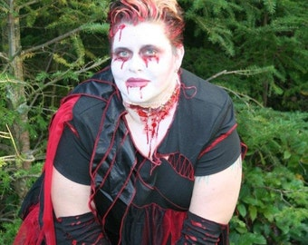 Zombie Bloody Zombie Plus Size -  Black red tatters XXL 3x 4x Custom ooak Dress upcycled clothing Adult Halloween Costume