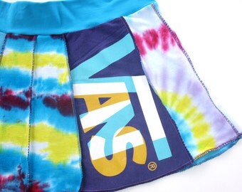 Vans Retread Tie Dye Tee Skirt Mini skirt upcycled tshirts Vans sk8 purple turquoise white red exposed seams womens teens mini  Large XL