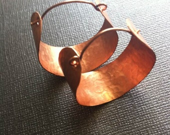 Copper Hammered Hoops Earrings (Small)