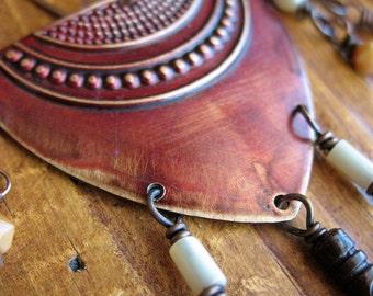 Warrior Shields in Ember Red Earrings