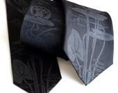 Black Lotus tie. Screenprinted silk necktie. Choose standard or narrow size.