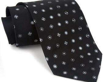Loose Screw men's necktie. Silkscreen screwdriver polkadot tie on silk. Silver print. Perfect for tinkerers, carpenters and mechanics.