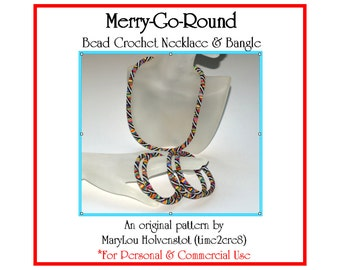 Bead Crochet Pattern ... MERRY-go-ROUND ... Necklace . Bangle . Jewelry Tutorial . Instruction . PDF . Geometric . Personal . Commercial
