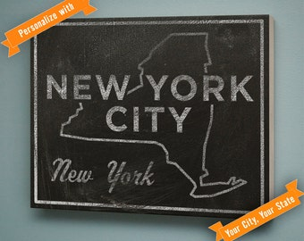 """Mens Personalized City Art Print- City Names Sign- Any City, Any State Art Box- 11"""" x 14""""- Husband Gift for Newlyweds- Custom State Decor"""