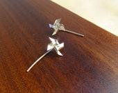 Sterling silver windmill / pinwheel earrings - cute, simple and fun!