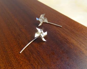 Simple windmill / pinwheel earrings - cute, iconic and fun sterling silver earrings