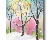 ACEO Forest full MOON Winter Snow tree ORIGINAL landscape watercolor painting