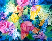 ORIGINAL watercolor Cottage Flower Garden Bouquet 12x16 Painting by M. Pruitt